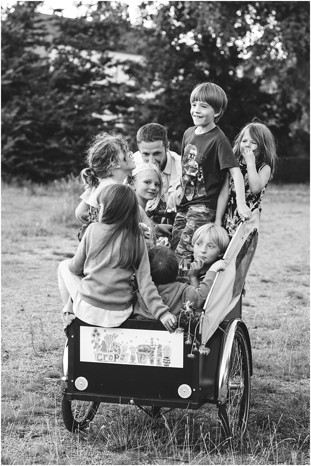 This shot really captures the freedom and fun that the kids have at our local community garden in Leith. How many kids can you get in a Christiania bike? !